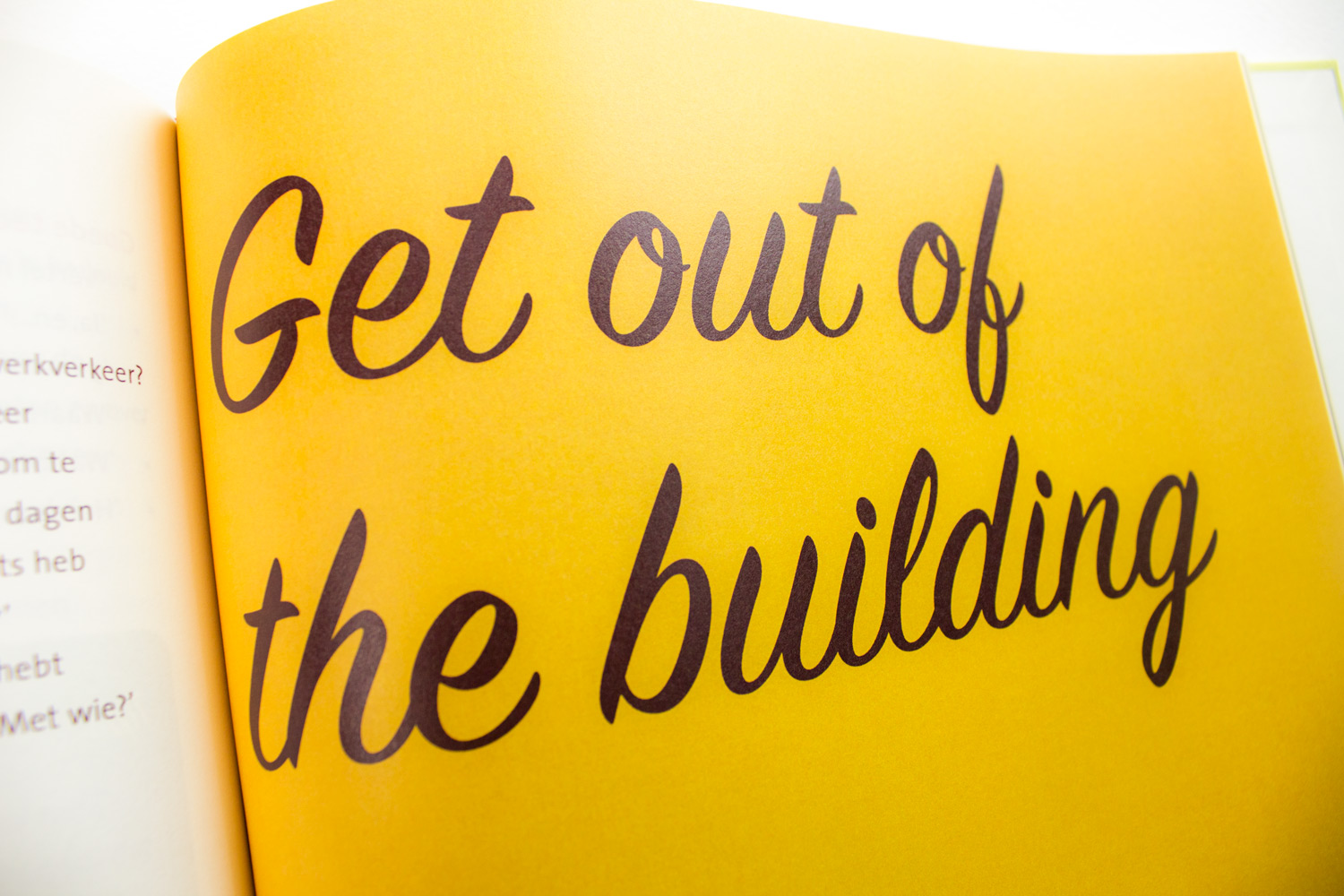 Saxion startup werkboek, pagina 'get out of the building'