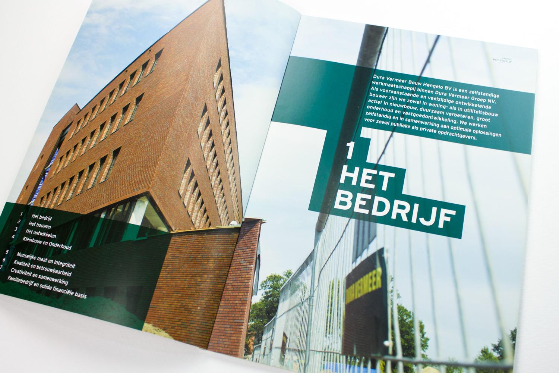 Ontwerp brochure Dura Vermeer Bouw Hengelo, het bedrijf | Studio Index