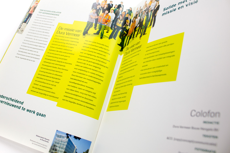 Ontwerp brochure Dura Vermeer Bouw Hengelo, colofon | Studio Index